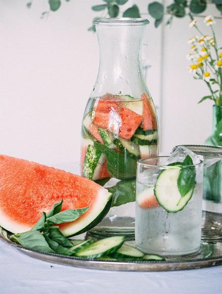 cucumber watermelon basil water, detox water recipe
