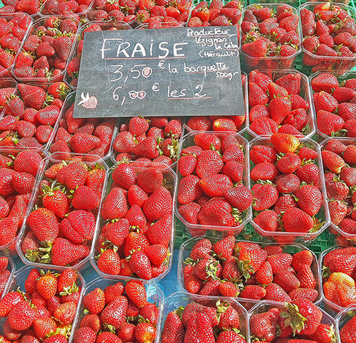 strawberries, south of france, market