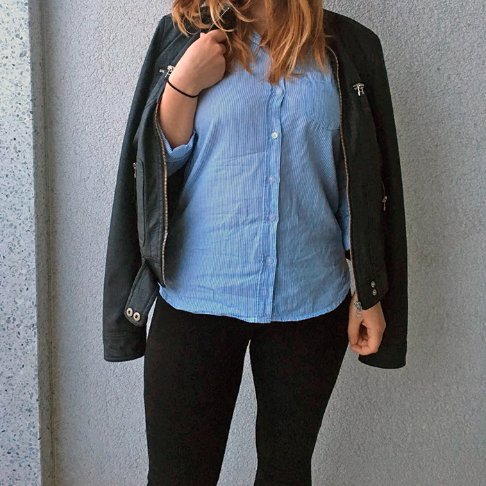 casual striped shirt faux leather jacket_ft