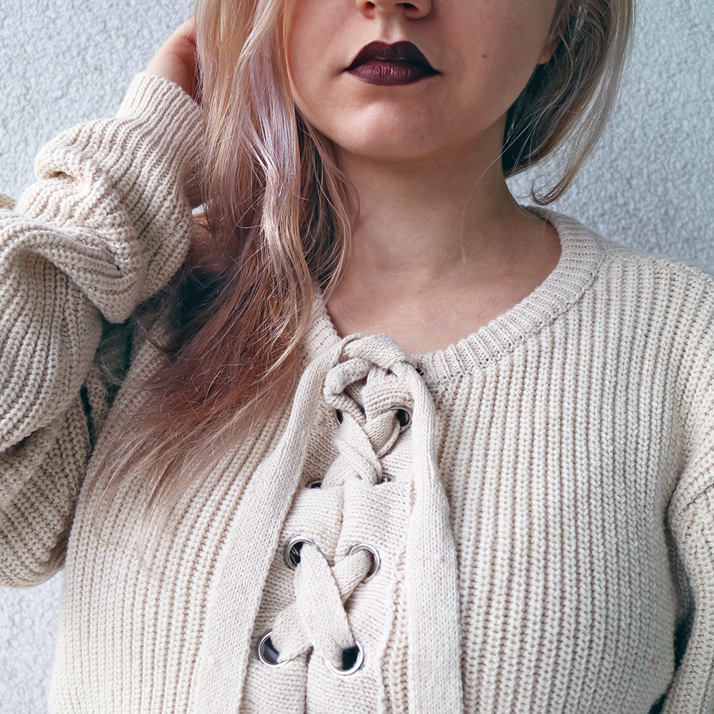 Most Comfortable Oversized Laced Up Sweater
