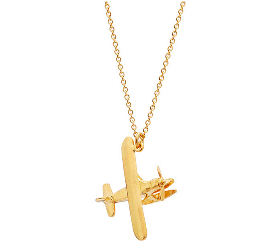 Biplane Necklace with Moving Propeller