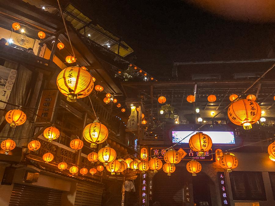 jiufen taiwan red lamps