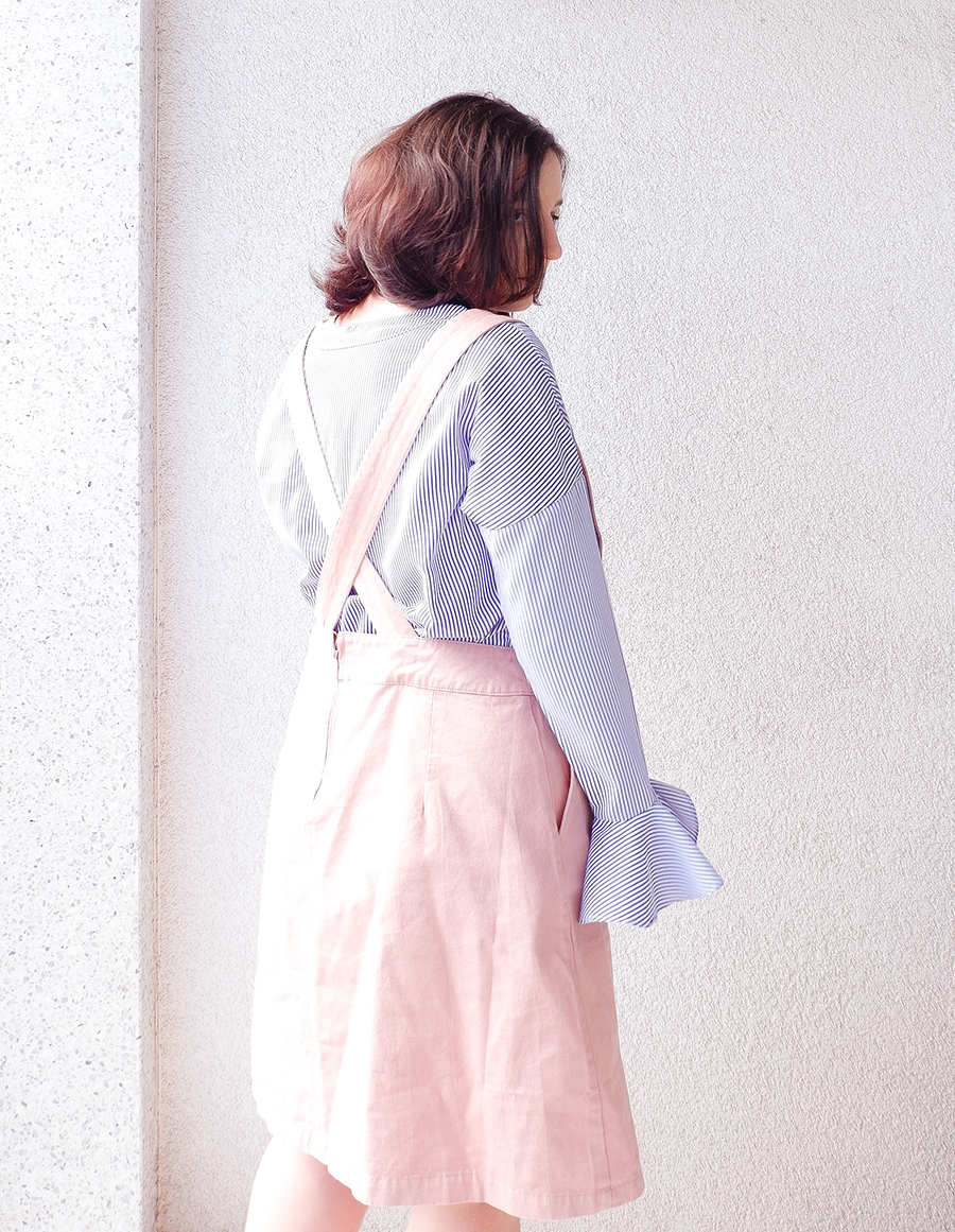 back to school outfit- apron pinafore pink - joanie clothing 3