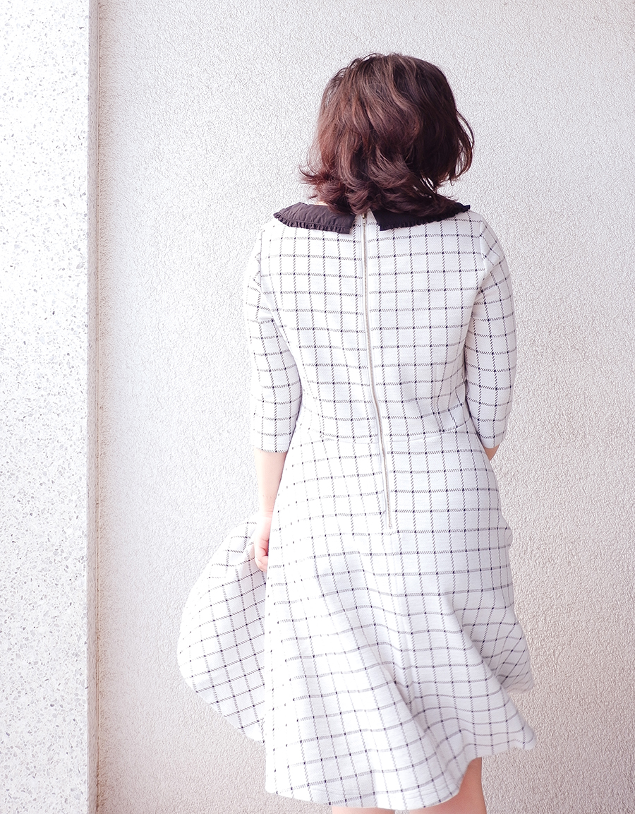 back to school outfit- collar check dress - joanie clothing 1