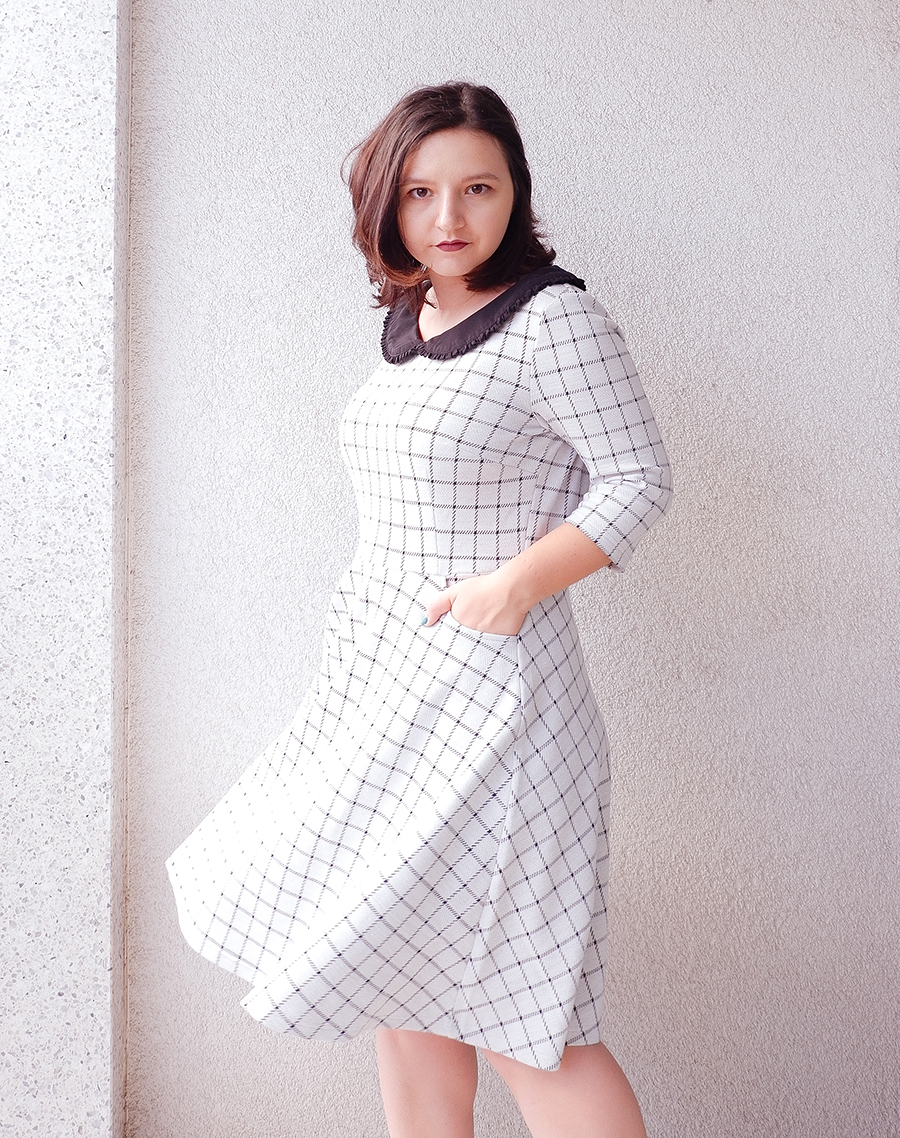 back to school outfit- collar check dress - joanie clothing 5