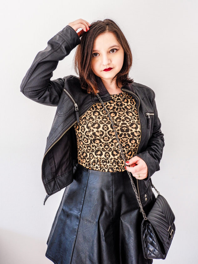 Leopard Print Dress with leather