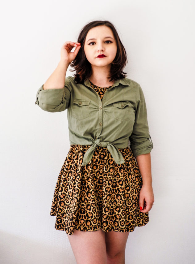Leopard Print Dress with shirt