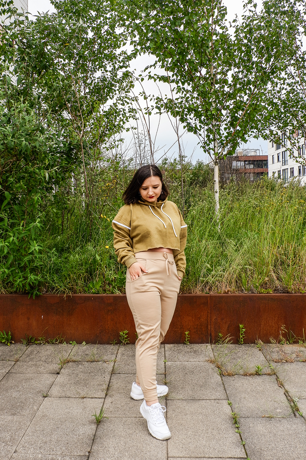 femme luxe beige co ord and khaki crop hoodie